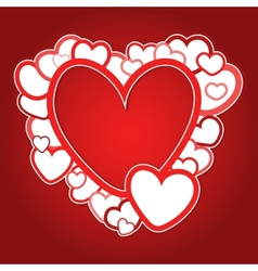 Red frame of hearts vector image vector image