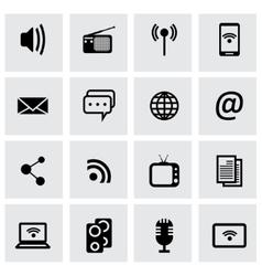 black media icons set vector image