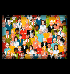crowd of people group photo shoot concept with vector image