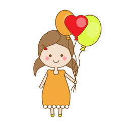 cute smiling little girl holding balloons vector image vector image