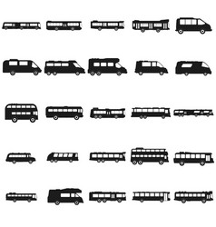 bus set black icon on white vector image vector image
