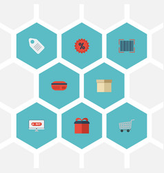 flat icons case present qr and other vector image vector image