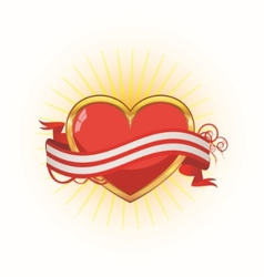 gold heart with ribbon vector image