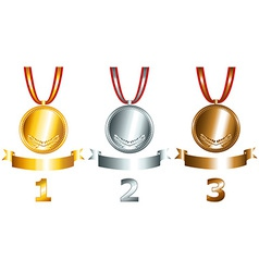Gold silver and bronze games related set vector image vector image