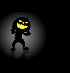 halloween pumpkin or jack olantern on dark vector image