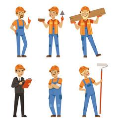 mascot design of builders in different action vector image