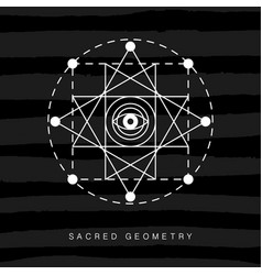Sacred geometry sign on black grunge background vector