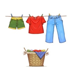 Clothes on rope and basket vector image