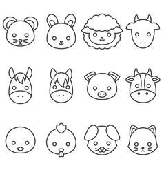 cute cartoon farm animal line icon set vector image