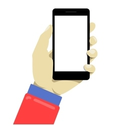 Hand holdng black smartphone touching blank vector image vector image