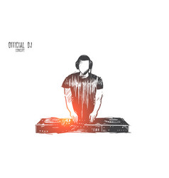 official dj concept hand drawn isolated vector image
