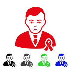 sad gentleman with mourning ribbon icon vector image