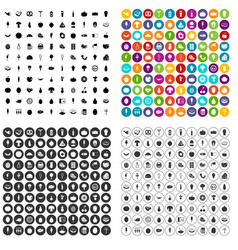 100 food icons set variant vector image