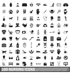 100 nursing icons set simple style vector