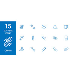 15 chain icons vector