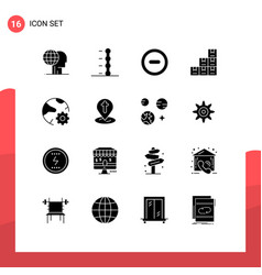 16 solid glyph concept for websites mobile and vector