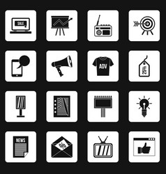 advertisement icons set squares vector image