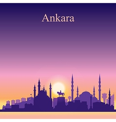 Ankara silhouette on sunset background vector