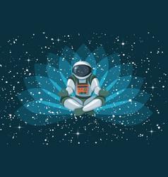astronaut sitting in lotus position meditating vector image