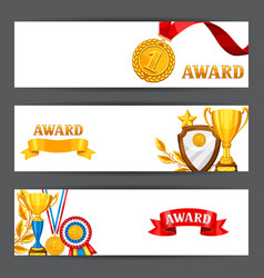 Banners with realistic gold awards backgrounds vector