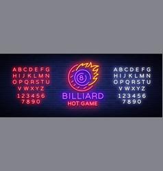 billiards neon sign billiard hot game logo in vector image