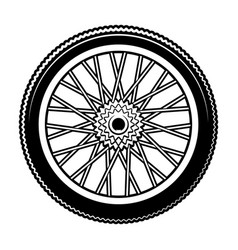 Black and white bicycle wheel vector