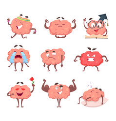 brain cartoon mascot in various poses vector image