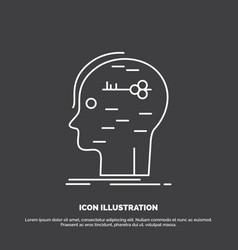 Brain hack hacking key mind icon line symbol for vector