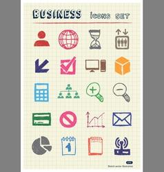 business web icons set drawn color pencils vector image