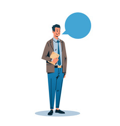 Businessman holding tablet chat bubble vector