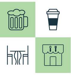 Cafe icons set collection of restaurant ale vector