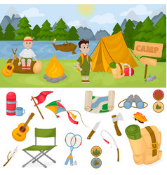 Camping children summer camp park vector