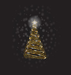 christmas tree with golden dots and snow on vector image
