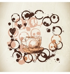 Coffee paint cup splashes and harts vector