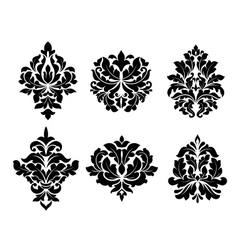Collection of six different arabesque designs vector