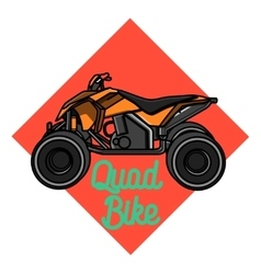 Color vintage quad bike emblem vector