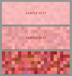 Colored square mosaic pattern banner set vector image