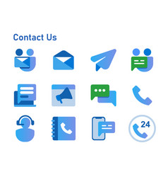 contact us icon set collection from email call vector image