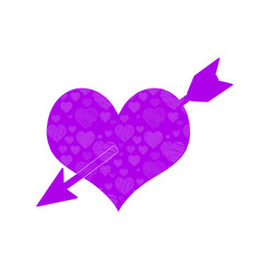cupid arrow through purple heart doodle pattern vector image