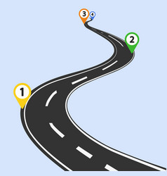 curved road infographic with color pins checkpoint vector image