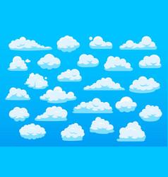 cute cartoon clouds blue sky with cute cartoon vector image
