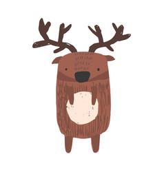 Cute childish hand drawn brown deer vector