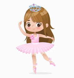 cute small brown hair girl ballerina dance vector image