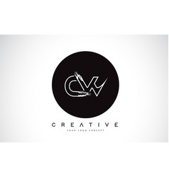 cw modern leter logo design with black and white vector image