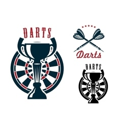 Darts symbols with dartboard and cup vector