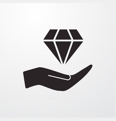 Diamond in hand sign icon in hand symbol vector