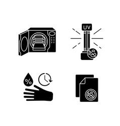 Disinfection equipment black glyph icons set vector