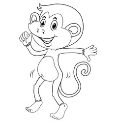 Doodle animal outline of happy monkey vector