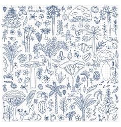 Doodle Forest Set vector image