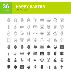 easter line web glyph icons vector image